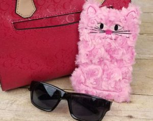 Pink Minky Kitty Cell Phone Pouch