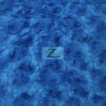 Rosette Floral Soft Minky Fabric Blue
