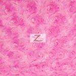 Rosette Floral Soft Minky Fabric Fuchsia