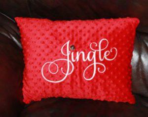 Minky Fabric Jingle Christmas Pillow