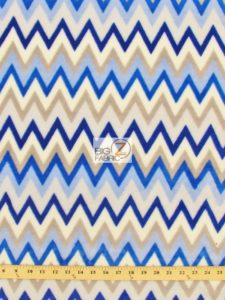 Chevron Baby Soft Minky Fabric Blue